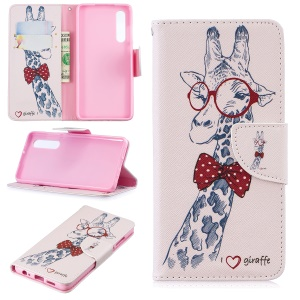 Pattern Printing PU Leather Flip Case for Huawei P30 - Giraffe Wearing Glasses