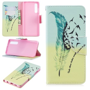 Pattern Printing PU Leather Phone Shell with Card Slots for Huawei P30 - Feather Pattern