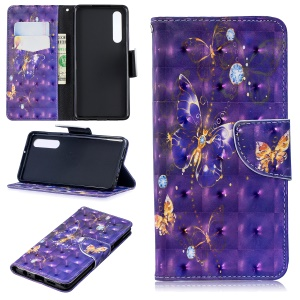 Pattern Printing [Stand Wallet] Leather Cell Phone Cover for Huawei P30 - Purple Butterfly