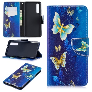 Pattern Printing PU Leather Protection Case for Huawei P30 - Blue Butterflies