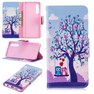 Pattern Printing PU Leather Mobile Phone Case for Huawei P30 - Two Swinging Owls