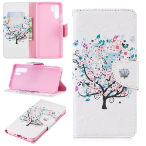 Pattern Printing Wallet Leather Stand Case for Huawei P30 Pro - Flowered Tree