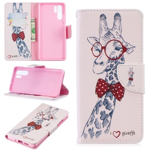 Pattern Printing Wallet Leather Protection Case for Huawei P30 Pro - Adorable Giraffe Wearing Glasses