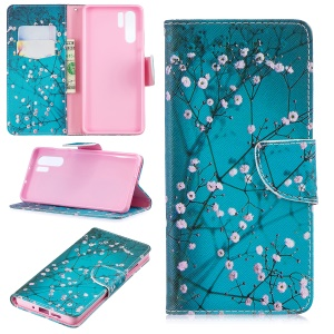 Pattern Printing Magnetic Leather Stand Case for Huawei P30 Pro - Tree with Flowers