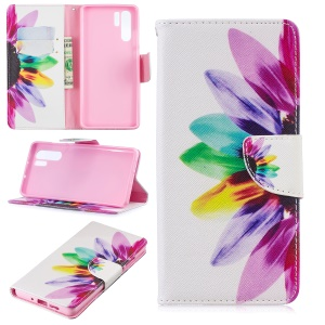 Pattern Printing Magnetic Leather Stand Cover for Huawei P30 Pro - Colorful Petals