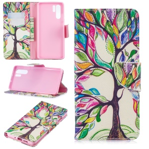 Pattern Printing Wallet Leather Case with Stand for Huawei P30 Pro - Colorized Tree