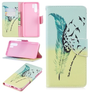Pattern Printing Wallet Leather Cover with Stand for Huawei P30 Pro - Feather Pattern