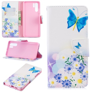 Pattern Printing Leather Wallet Stand Case for Huawei P30 Pro - Blue Butterfly and Flowers