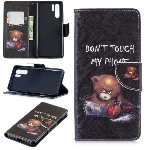 Pattern Printing PU Leather Wallet Case for Huawei P30 Pro - Brown Bear and Warning Words