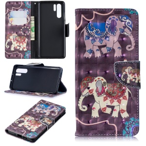 Pattern Printing Light Spot Decor Leather Wallet Case for Huawei P30 Pro - Elephant