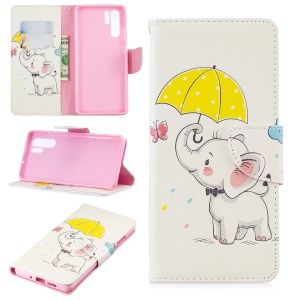 Pattern Printing Leather Wallet Case for Huawei P30 Pro - Elephant Holding an Umbrella