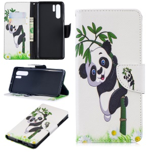 Pattern Printing PU Leather Magnetic Wallet Stand Case for Huawei P30 Pro - Panda on Bamboo