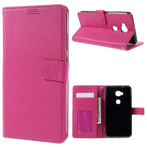 Litchi Texture Leather Cover Card Holder for Huawei Honor Play 5X / Honor 5X - Rose