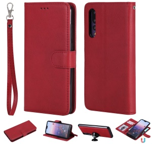 Magnetic Detachable 2-in-1 Wallet Leather Phone Cover for Huawei P20 Pro - Red
