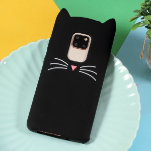 3D Moustache Cat Silicone Phone Casing for Huawei Mate 20 - Black
