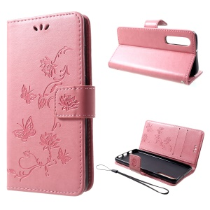 Imprint Butterfly Flower [Wallet Stand] Leather Phone Cover for Huawei P30 - Pink