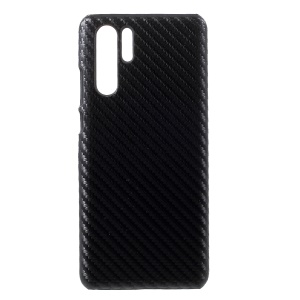 Leather Coated Plastic Phone Case for Huawei P30 Pro - Black Carbon Fiber