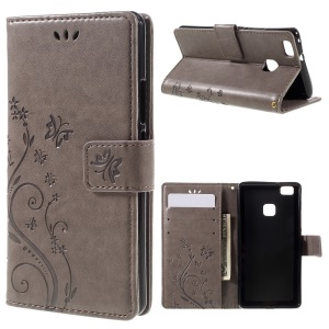 Butterfly Wallet Stand Leather Cover for Huawei P9 Lite - Grey