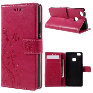 Butterfly Wallet Stand Leather Shell for Huawei P9 Lite - Rose