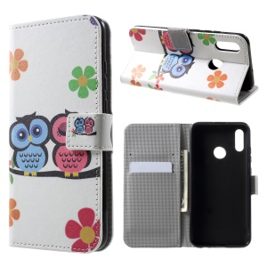 Patterned Card Holder Stand Leather Accessory Casing for Huawei Honor 10 Lite/P Smart (2019) - Owl Lovers