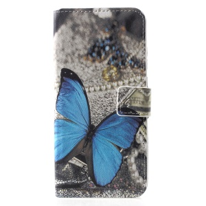 Patterned Card Holder Stand Leather Cellphone Cover for Huawei Honor 10 Lite/P Smart (2019) - Blue Butterfly