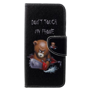 Cross Texture Pattern Printing PU Leather Mobile Phone Case for Huawei Honor 10 Lite - Angry Bear and It's Warning