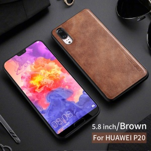 X-LEVEL Vintage Style PU Leather Coated TPU Back Shell for Huawei Mate 20 - Brown
