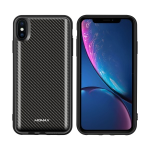 MOMAX Q.Power Pack 6000mAh External Magnetic Wireless Battery Pack Protective Case for iPhone XS Max - Carbon Fiber Texture