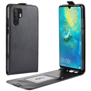 Crazy Horse Vertical Flip Leather Card Holder Case for Huawei P30 Pro - Black