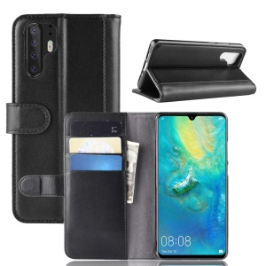 Genuine Split Leather Wallet Stand Protection Case for Huawei P30 Pro - Black