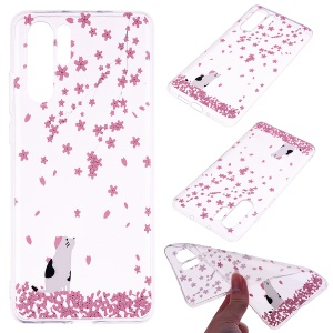 Printing Pattern TPU Case for Huawei P30 Pro - Pink Flowers and Animal