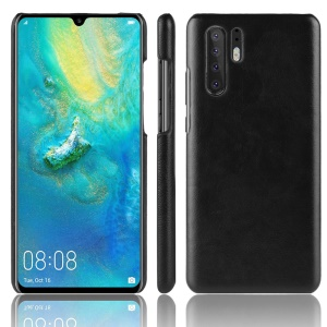 Litchi Skin Leather Coated Hard PC Case for Huawei P30 Pro - Black