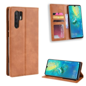 Vintage Style Leather Wallet Case for Huawei P30 Pro - Brown