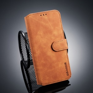 DG.MING Retro Style PU Leather Wallet Casing for Huawei Honor 10 Lite - Brown