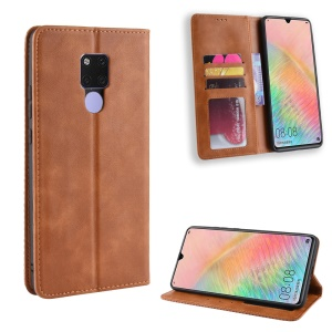 Vintage Style Leather Wallet Case for Huawei Mate 20 X - Brown