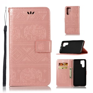 Imprint Elephant Leather Wallet Cover for Huawei P30 Pro - Rose Gold