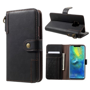 Cowhide Leather Protection Cell Phone Case for Huawei Mate 20 Pro - Black