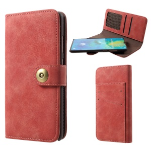 Detachable Vintage Style Split Leather Coated PC Wallet Case for Huawei Mate 20 - Red