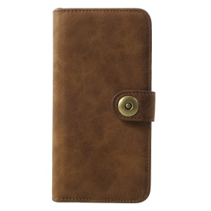 Detachable Vintage Style Split Leather Coated PC Wallet Cellphone Case for Huawei Mate 20 - Coffee