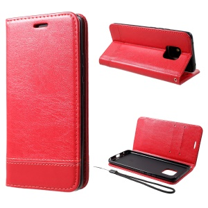 PU Leather Card Holder Stand Cell Phone Case with Strap for Huawei Mate 20 Pro - Red