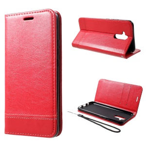 PU Leather Card Holder Stand Cell Phone Shell with Strap for Huawei Mate 20 Lite - Red