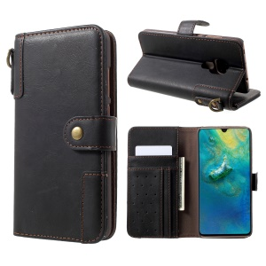 Cowhide Leather Phone Case [Wallet Stand] for Huawei Mate 20 - Black