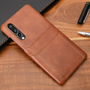 For Huawei P30 Dual Card Slots PU Leather Coated PC Hard Case - Brown
