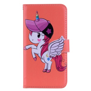 Unicorn Pattern PU Leather Casing [Mirror / Wallet / Stand] for Huawei Honor 8X / Honor View 10 Lite - Orange