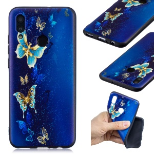 Embossed Pattern TPU Cover for Huawei P Smart (2019) / Honor 10 Lite - Blue Butterflies
