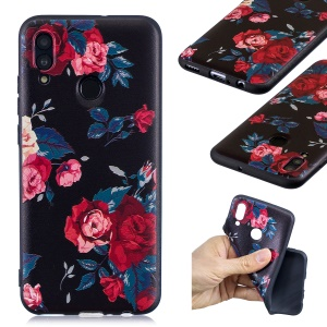 Embossed Pattern TPU Phone Cover for Huawei P Smart (2019) / Honor 10 Lite - Roses