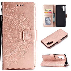 Imprinted Mandala Pattern PU Leather Protection Mobile Phone Case for Huawei P30 Pro - Rose Gold