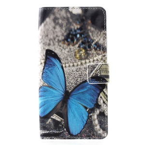 Patterned PU Leather Wallet Stand Protective Cover for Huawei P30 Pro -  Blue Butterfly