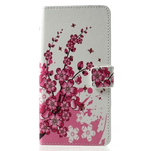 Patterned PU Leather Wallet Stand Phone Accessory Case for Huawei P30 Pro - Pink Peach Flowers