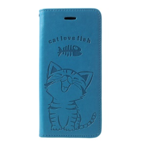 Imprint Cat and Fish Bone PU Leather Cover [with Wallet Stand] for Huawei P30 Pro - Blue